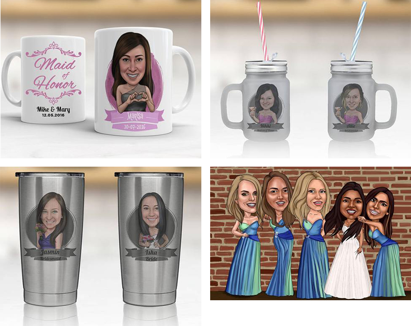 caricatures Bridesmaid Gifts