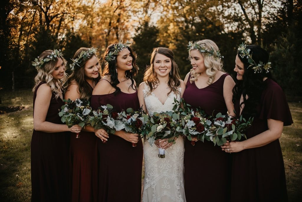 maroon bridesmaids dresses