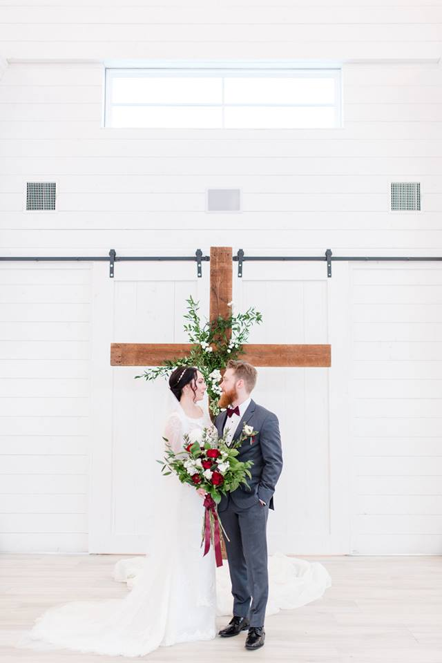 white barn winter wedding