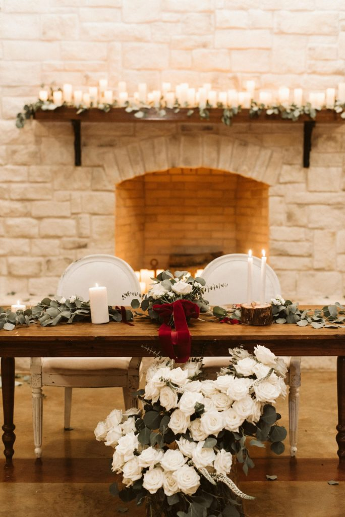 sweetheart table by fireplace for winter