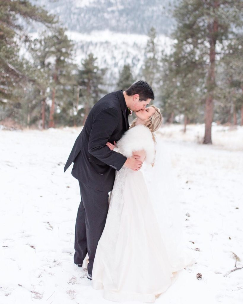 snowy wedding bride and groom