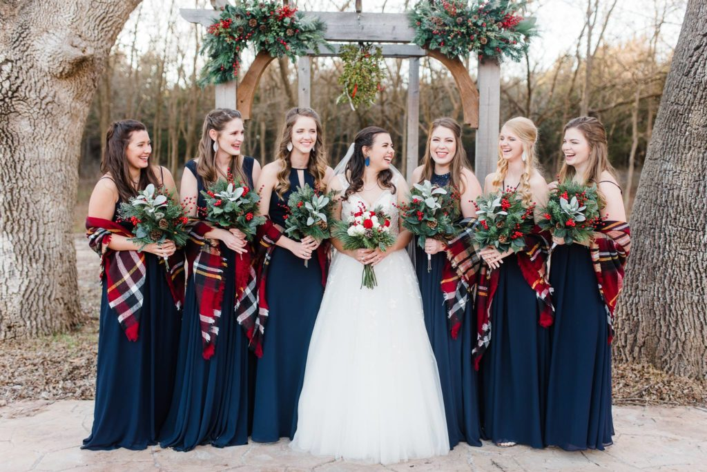 winter bridesmaids with plaid scarves