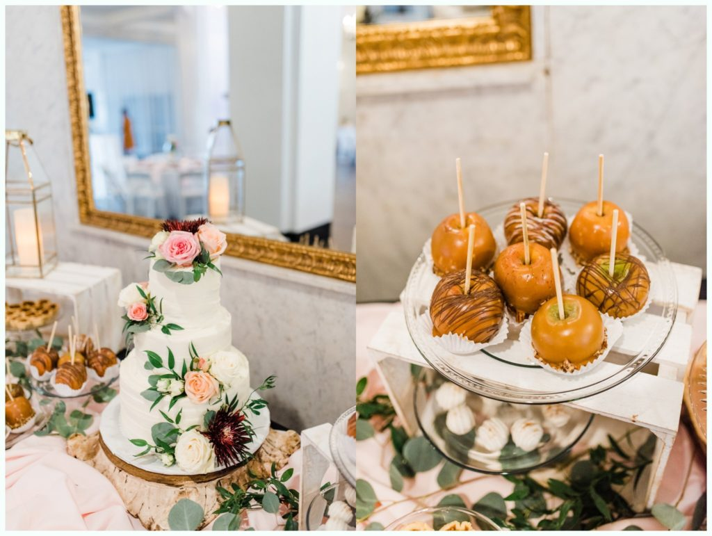 wedding cake and candy apples