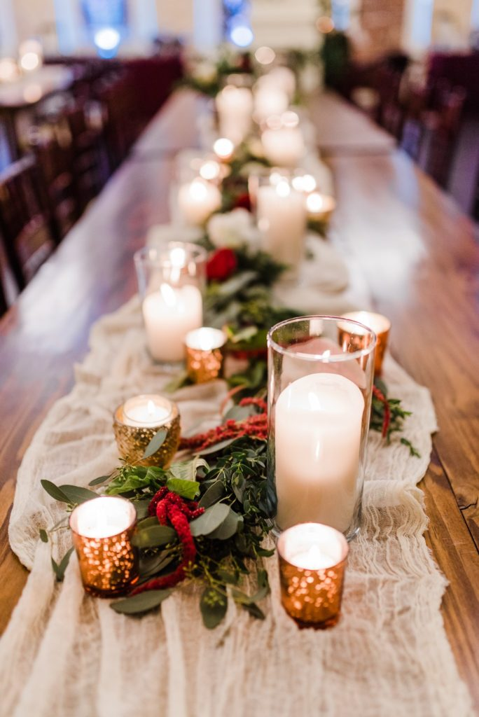 winter decor and candles for winter wedding table