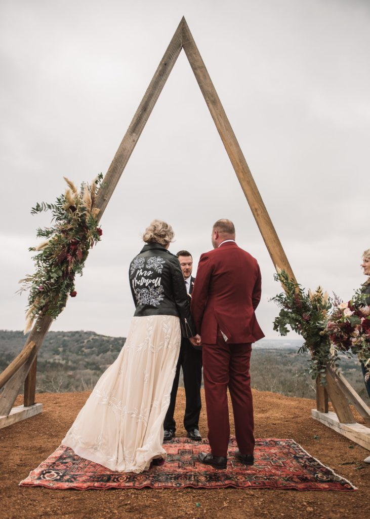 Wedding altar and bridal leather jacket